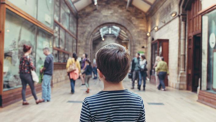 A boy in a museum