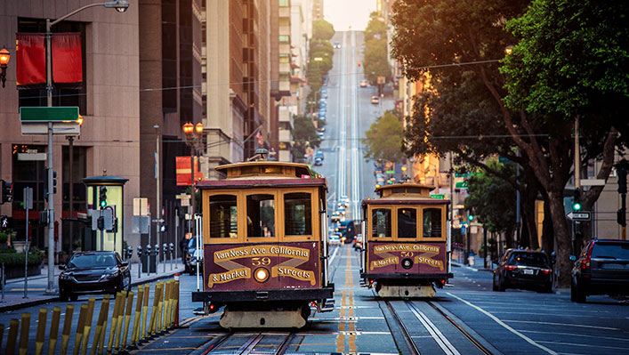 Public trams in San Francisco