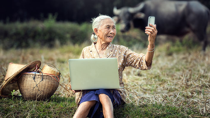 An older Asian woman in the countryside with a laptop on her lap and looking at her cell phone. A bull stands in the background.