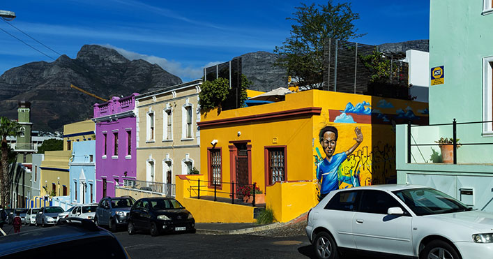 A street with colorful houses in Capetwon